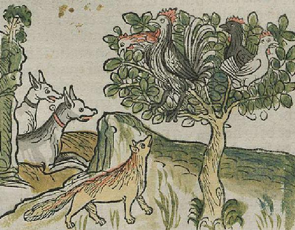 El gallo y el perro y el zorro fabula niños