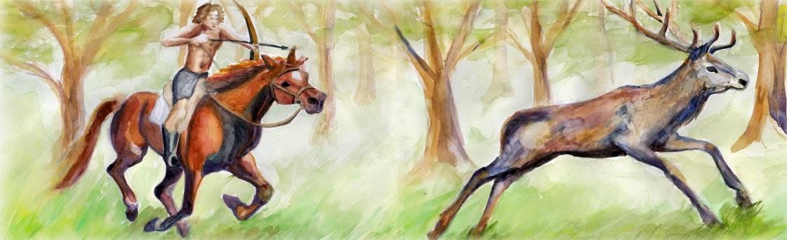 El caballo y el cazador y el ciervo