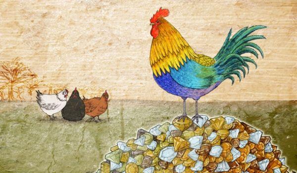 el gallo y las piedras preciosas esopo
